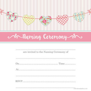 Details about Naming Ceremony Invitations - Cute Heart Bunting - Pack of 10