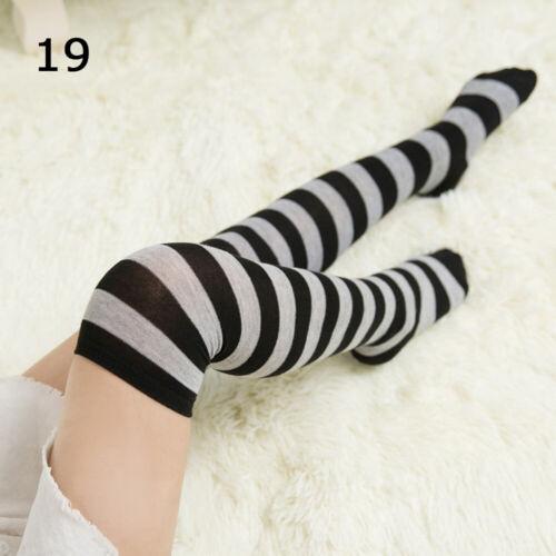Fashion Women/'s Thigh High Striped Stockings Ladies Over the Knee Slim Leg Socks