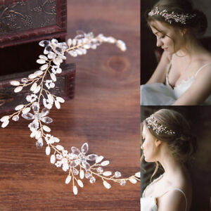 Women-Bride-Wedding-Crystal-Rhinestone-Pearl-Hair-Band-Flower-Headband-Headress