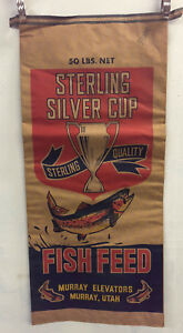 vintage STERLING SILVER CUP FISH FEED ADVERTISING SACK 50#