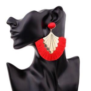 Women-Fan-Shape-Alloy-Bohemian-Long-Tassel-Dangle-Fringe-Drop-Stud-Earrings-Gift