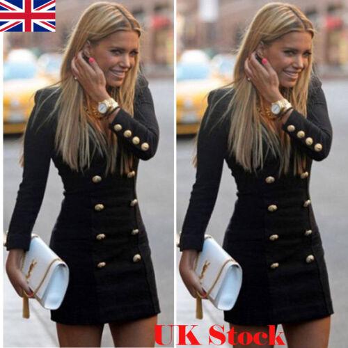 Clubwear Mini manica a V corte Uk maniche scollo con abito lunga sexy a Donna Party UcPwqSa6B