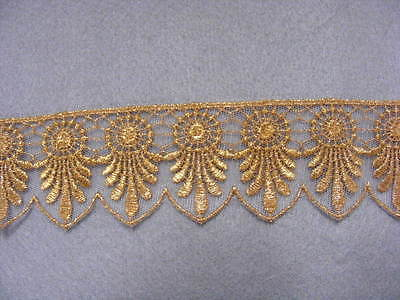 Metallic Gold Embroidered  Nett  Lace Trim  50mm x 3mts (26117)