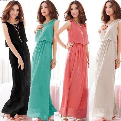 Sexy Women Ladies Boho  Maxi  Dress Chiffon Sleeveless Pleated Long dress B 001