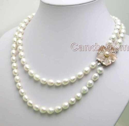 """6-7 MM riz blanche naturelle d/'eau douce collier de perles pour femmes 2 Strand tour de cou 17/"""""""