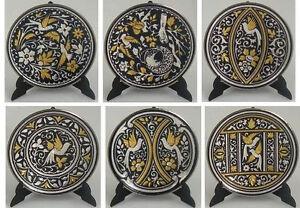 Damascene-Gold-Silver-Dove-Design-Round-Decorative-Mini-Plate-Midas-Toledo-Spain