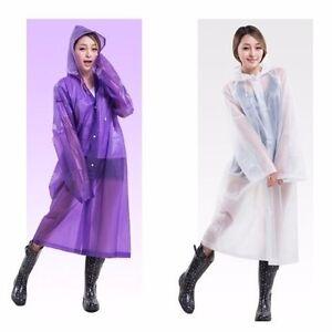 Adult-Raincoat-Transparent-Waterproof-Plastic-Reusable-Rain-Poncho-Hood-Lady-Men