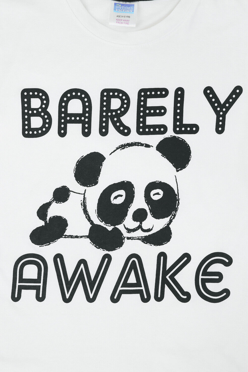 Girls Barely Awake Panda Long Pyjamas Black and White 9 to 16 Years
