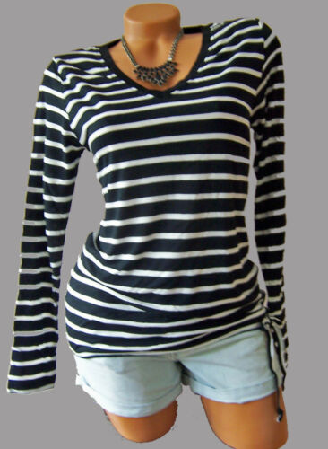 Bandes t-shirt noir//blanc taille 40//42 manches longues t-shirt lien à nouer 949199