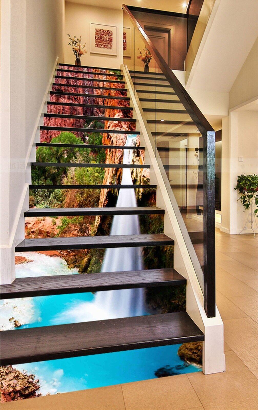 3D Mountain fall 67 Stair Risers Decoration Photo Mural Vinyl Decal Wallpaper UK