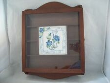 Wall Curio Cabinet with Hand Needlepoint Floral Design