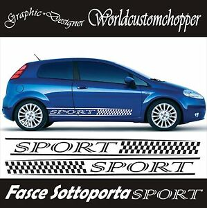 2 bands adhesive stickers under fiat door grande punto sport car tuning ebay. Black Bedroom Furniture Sets. Home Design Ideas