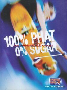 "0/% Sugar/"" 1998 Magazine Advert #5172 Pepsi Max /""100/% Phat"