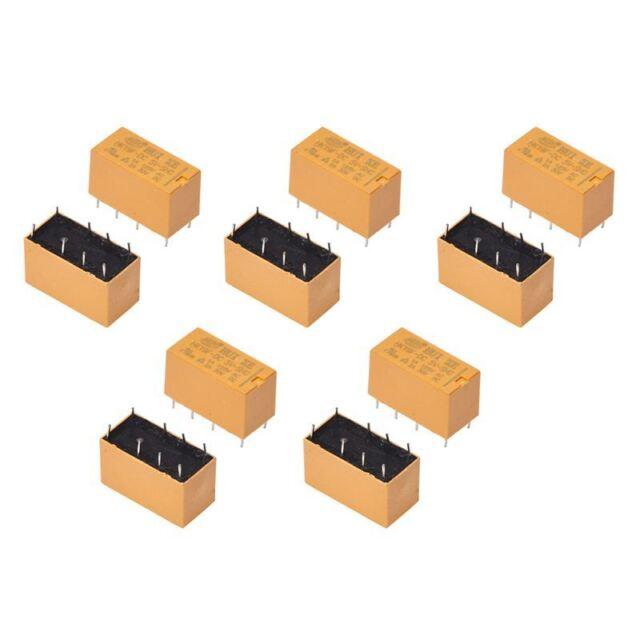 10 x DC 5V bobina 125V / 1A CC 30V 2A AC 8 pines DPDT Rele de potencia HK19F QC3