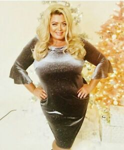 Gemma-Collins-Size-22-Celine-Silver-Dress-New-with-tags