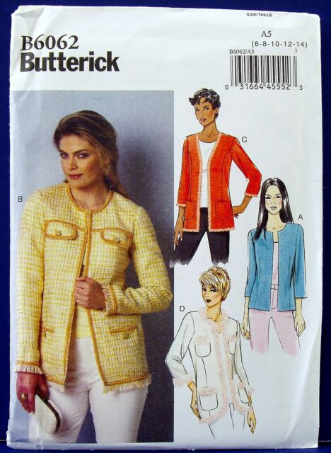 Butterick Classic Jacket Sewing Pattern Blazer Coat  Misses 6,8,10,12,14 6062