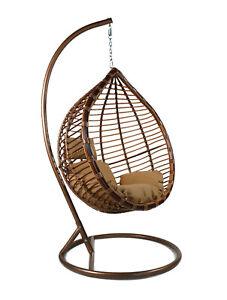 Premium Rattan Effect Hanging Egg Chair Patio Garden Indoor Outdoor With Cushion Ebay