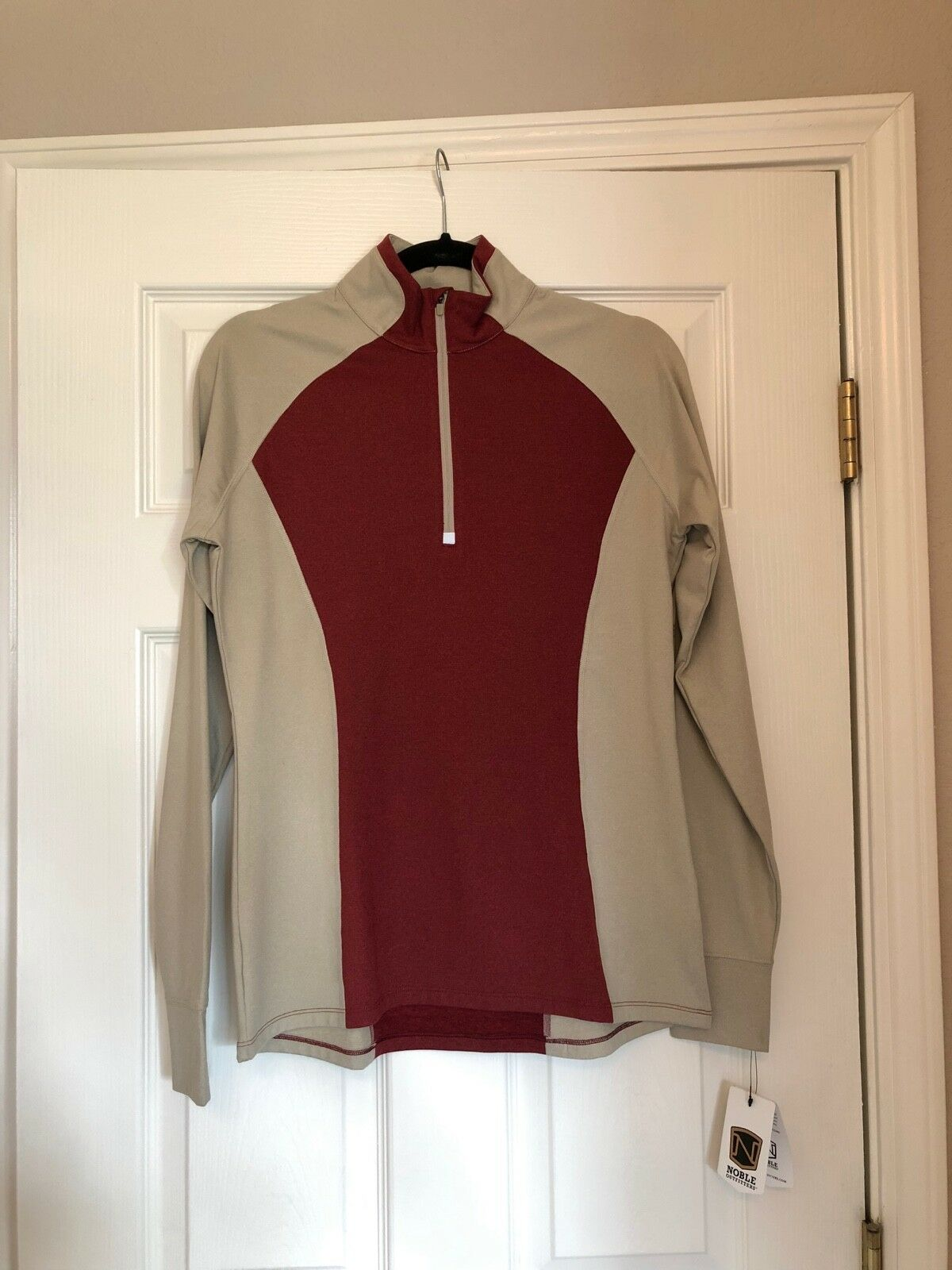 Women's Noble Outfitters L S 1 4 Zip   Athena  Performance Top  - Merlot  classic style