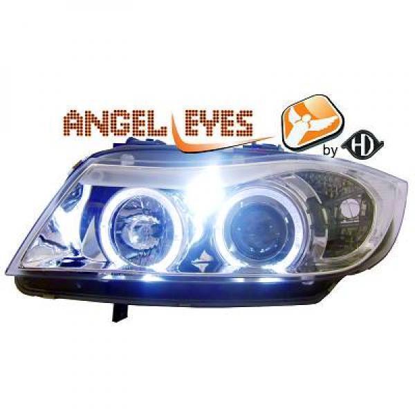 LHD Faros Proyectores Par Angel Eyes Claro Cromo Para BMW 3 Serie E90 91