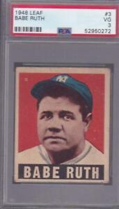 1948 Leaf #3 Babe Ruth Baseball Card New York Yankees HOF PSA 3