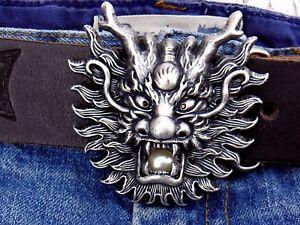 Guertelschnalle-Drachen-Dragon-Face-Silver-Asien-Wechselschnalle-fuer-4cm-Buckle