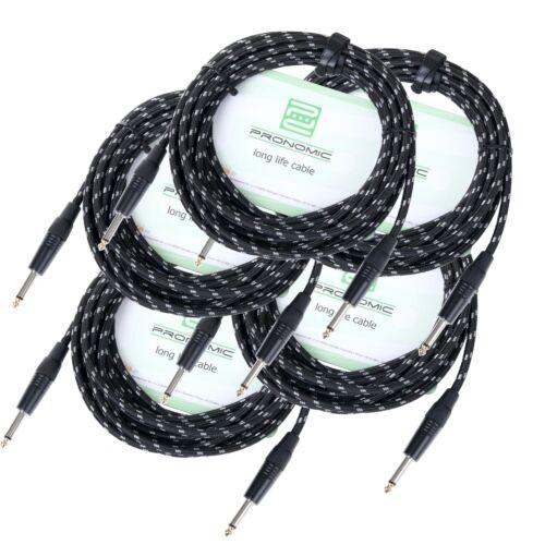 5x Set Instrumenten Kabel Gitarrenkabel 6m Audio 6,3mm Klinke Vintage Textil