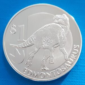 Sierra Leone 1 dollar 2015 UNC Edmontosaurus Dinosaur Prehistoric Silver Plated