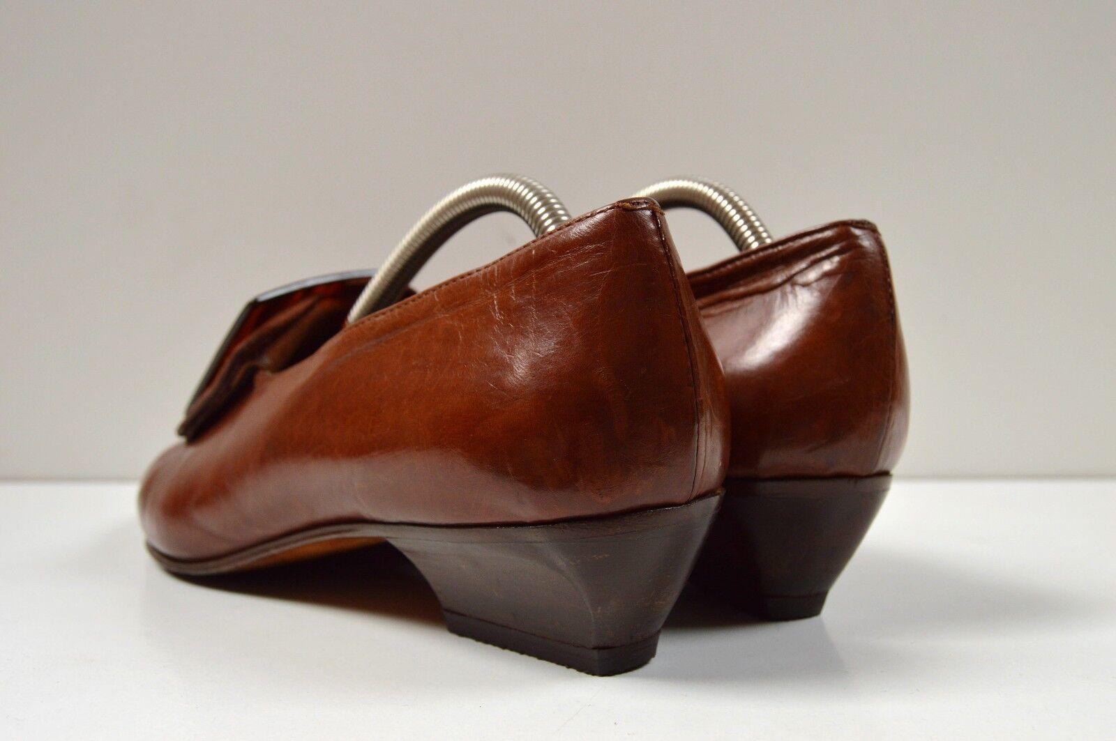 Theil Schnallenschuh made made made in italy braun HalbZapatos True Vintage loafer spitz 1535f2