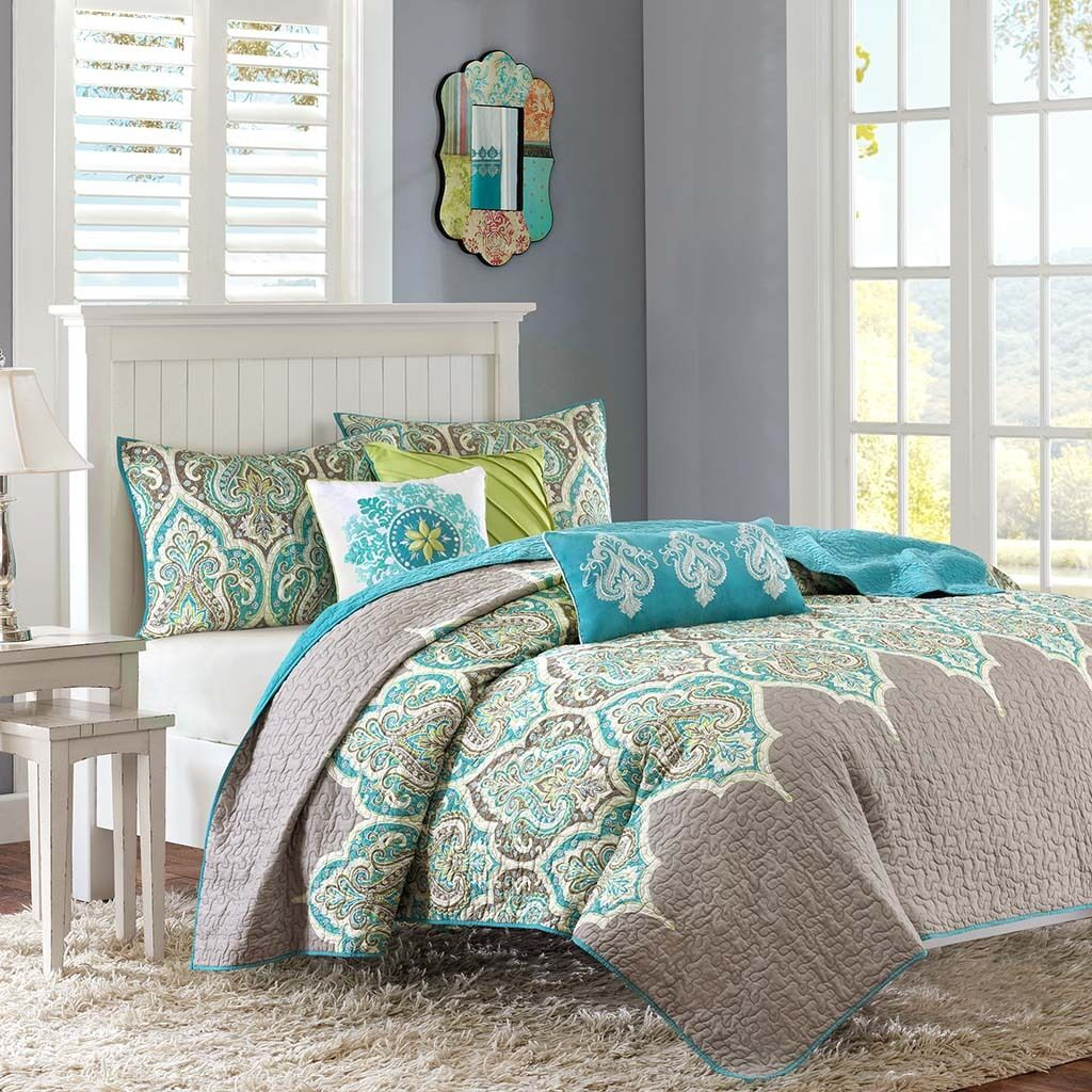 BEAUTIFUL MODERN TROPICAL EXOTIC BOHEMIAN TEAL Blau AQUA grau Grün QUILT SET