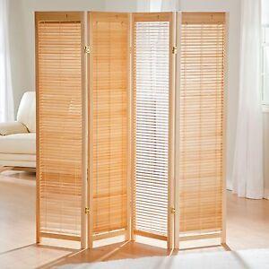 Details About Natural Shutter 4 Panel Room Divider Screen Home Living Bedroom Furniture