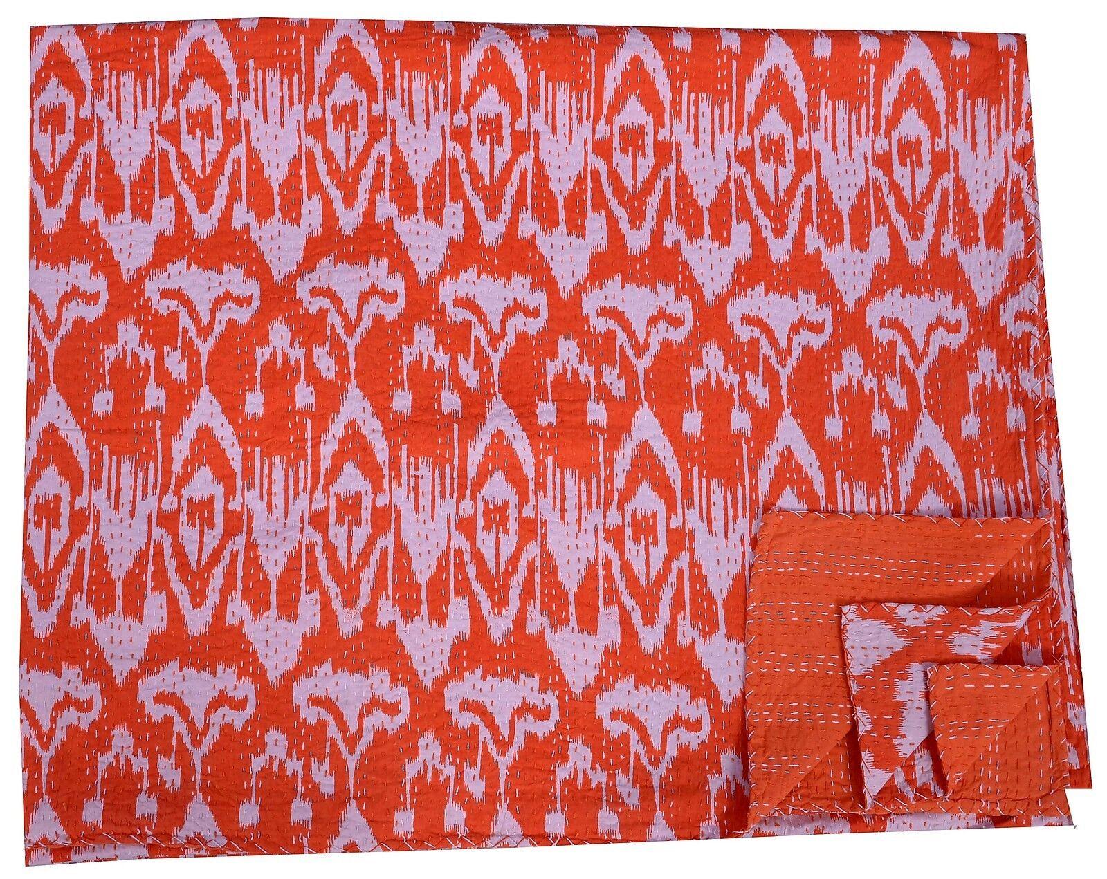 Indian Handmade Queen Kantha Quilt Cotton Bedspread Reversible Blanket Throw