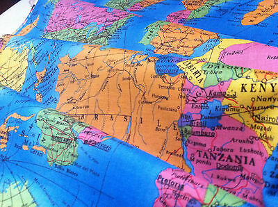 GLOBE World Map Cotton Fabric Material - 53.5 inches /136cm wide any length