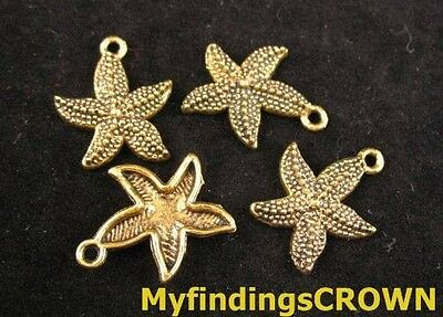 50pcs Antiqued gold pave starfish charms 19mm FC138