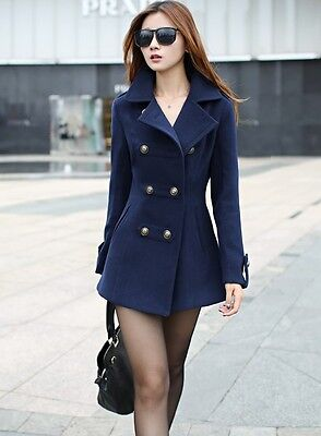 Hot new Women's Long Slim double-breasted wool trench coat jacket