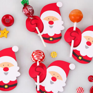Lollipop Stick Christmas Decorations.Details About 50pcs Penguin Santa Claus Candy Lollipop Paper Card Diy Christmas Decorations