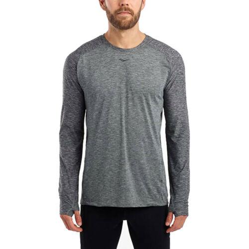 Saucony Mens Breakthru LS Running Top Grey Sports Breathable