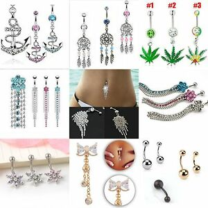 Belly-Button-Dangle-Rings-Crystal-Jewelry-Barbell-Navel-Ball-Bar-Body-Piercing