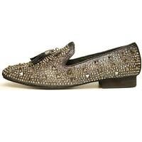 Men's Fiesso Silver Black Slip On Fashion Shoes With Studs And Tassels Fi 7005