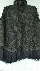 Antique-Victorian-ladies-mourning-cape-in-black-lace