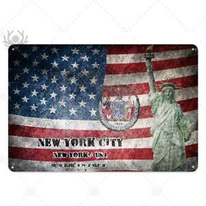 PLAQUE  DÉCORATIVE EN MÉTAL ÉTAIN NEW YORK 30X20 CM