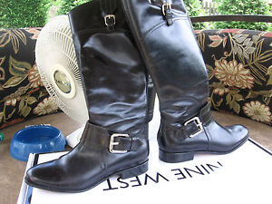 Womens-Corso-Como-Black-Leather-Knee-High-Boots-Size-5-1-2-Mint-Condition