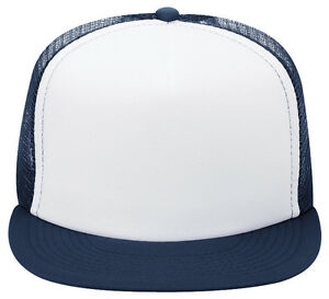 Details about OTTO Polyester Foam Front Flat Visor Five Panel High Crown  Mesh Back Trucker Hat 21cd9d3bc83