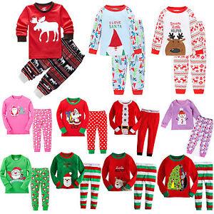 image is loading 2pcs kids boys girl christmas pajamas set outfit - Girl Christmas Pajamas