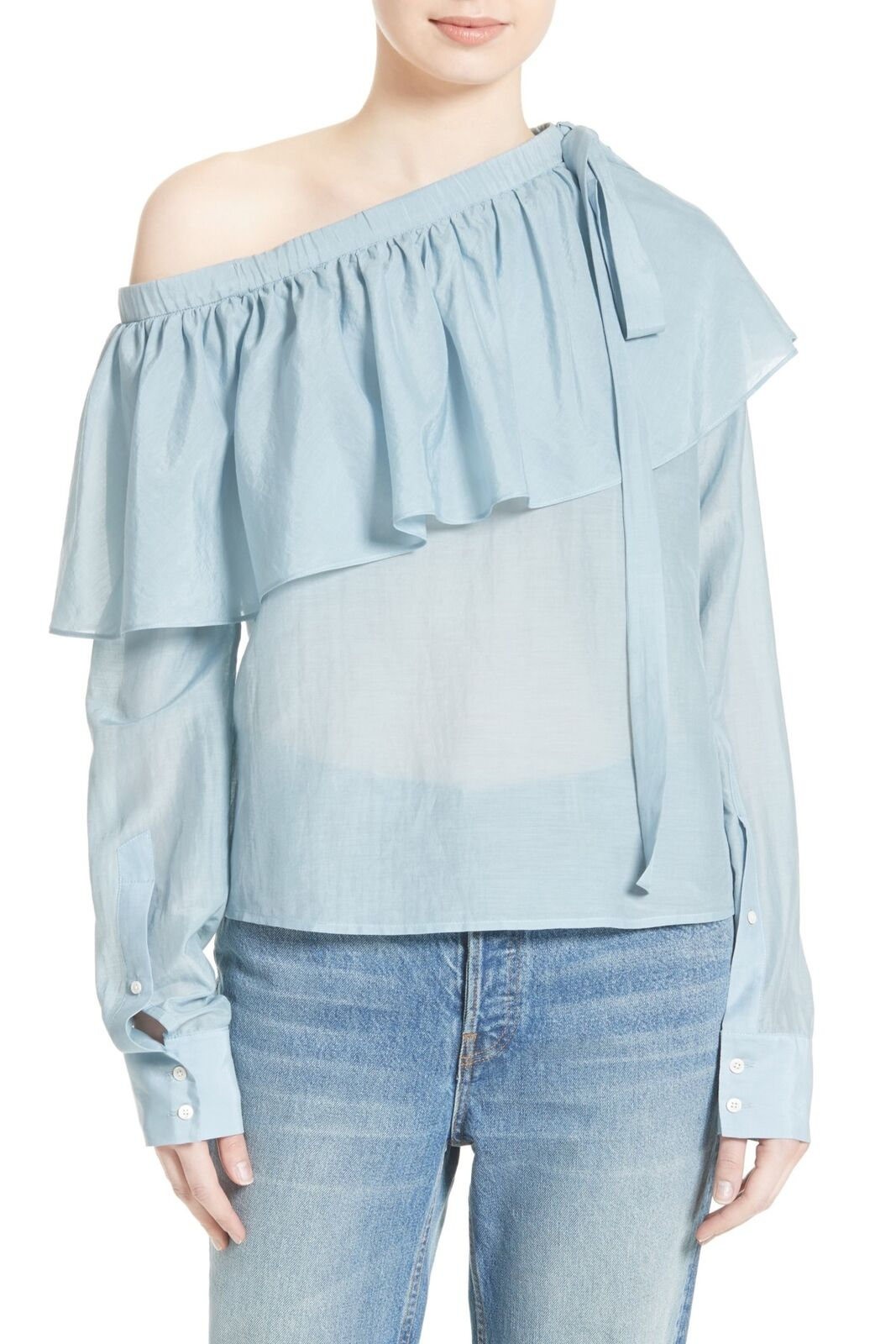 NEW ROBERT RODRIGUEZ Ruffle One Shoulder TOP BLOUSE  Größe 2 OCEAN NORDSTROM