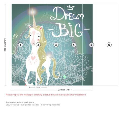 Dream Big Unicorn Wall Mural Wallpaper WS-42746