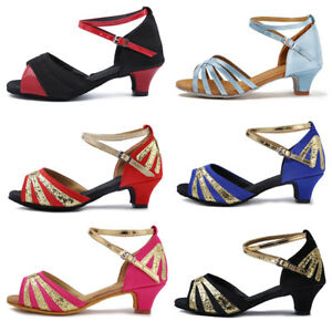 New-Girls-Children-Adult-Womens-Ballroom-Latin-Tango-Dance-Low-Heels-Shoes