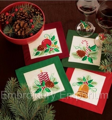 MACHINE EMBROIDERY DESIGNS ON CD OR USB HOLLY JOLLY CHRISTMAS COLLECTION