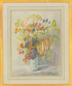 E. Lee - Signed & Framed Mid 20th Century Watercolour, Floral Still Life