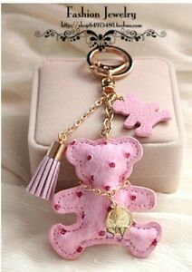 Korean Teddy Bear Leather Tassel Key Ring Bag Charm Keychain Cute ... 2f20a3d63e45