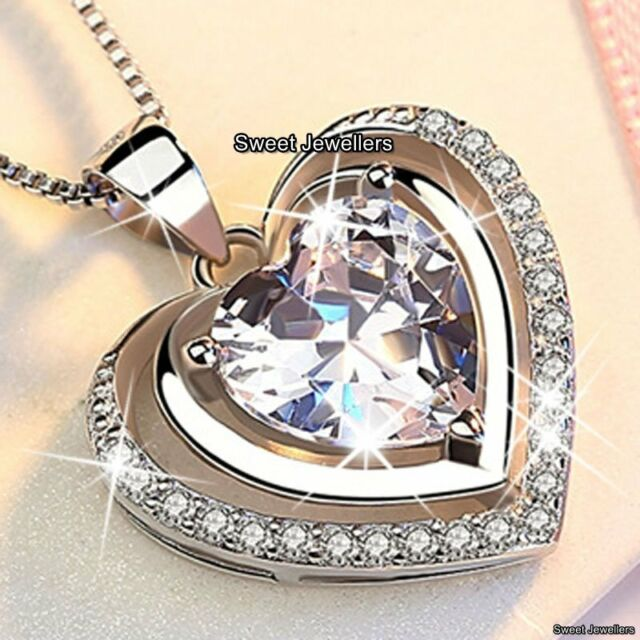 WOMENS JEWELLERY Romantic Gifts For Her Purple Crystal Heart Necklace Xmas Wife